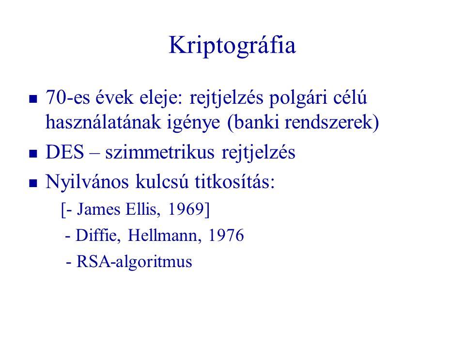 Kriptográfia   70-es évek eleje: rejtjelzés polgári célú használatának igénye (banki rendszerek)   DES – szimmetrikus rejtjelzés   Nyilvános kul
