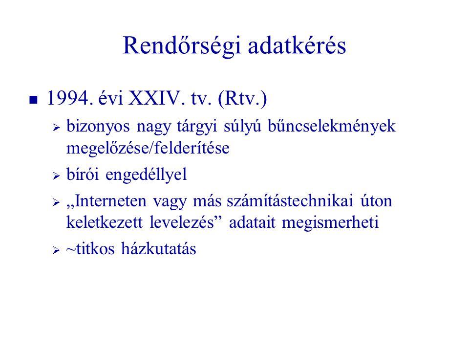 """Rendőrségi adatkérés   1994. évi XXIV. tv. (Rtv.)   bizonyos nagy tárgyi súlyú bűncselekmények megelőzése/felderítése   bírói engedéllyel   """"I"""