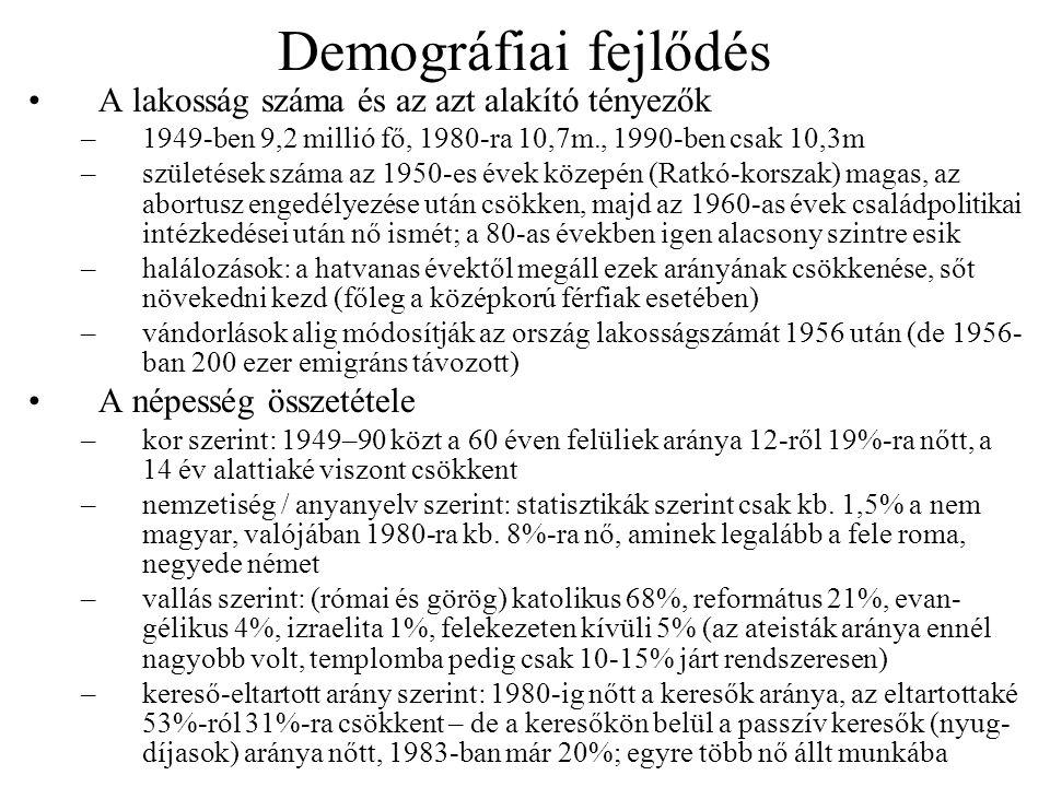 Demográfiai fejlődés •A lakosság száma és az azt alakító tényezők –1949-ben 9,2 millió fő, 1980-ra 10,7m., 1990-ben csak 10,3m –születések száma az 19