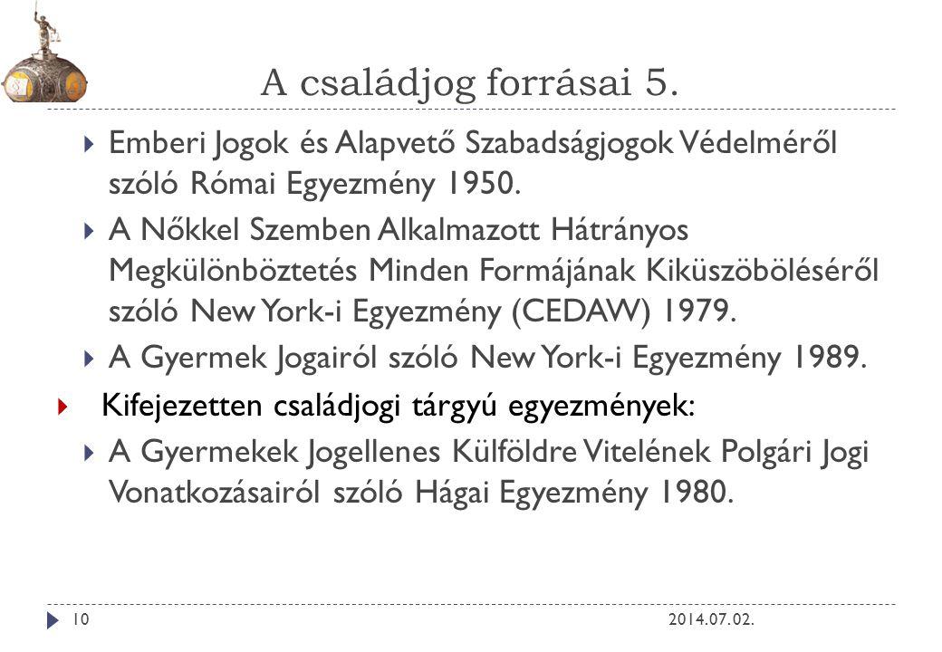A családjog forrásai 5. 2014. 07. 02.10  Emberi Jogok és Alapvető Szabadságjogok Védelméről szóló Római Egyezmény 1950.  A Nőkkel Szemben Alkalmazot