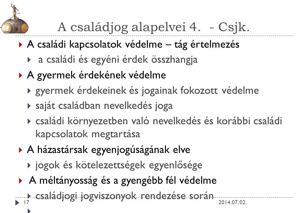 A családjog alapelvei 4.- Csjk. 2014. 07.