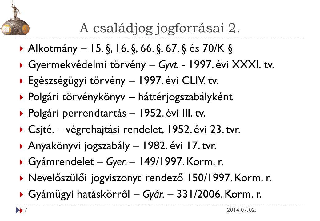 A családjog jogforrásai 2.2014. 07. 02.7  Alkotmány – 15.