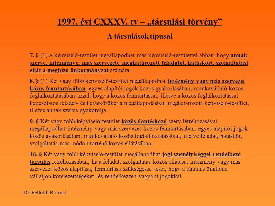 """Dr. Felföldi Botond 1997. évi CXXXV. tv – """"társulási törvény"""" A társulások típusai 7. § (1) A képviselő-testület megállapodhat más képviselő-testülett"""