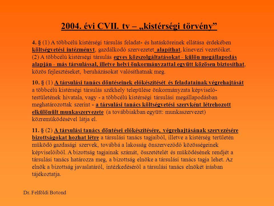 """Dr. Felföldi Botond 2004. évi CVII. tv – """"kistérségi törvény"""" 4. § (1) A többcélú kistérségi társulás feladat- és hatásköreinek ellátása érdekében köl"""