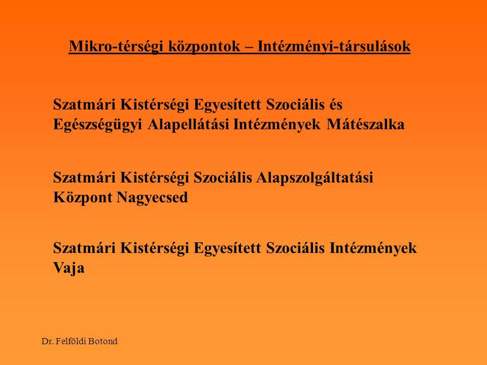 Dr. Felföldi Botond Mikro-térségi központok – Intézményi-társulások Szatmári Kistérségi Egyesített Szociális és Egészségügyi Alapellátási Intézmények