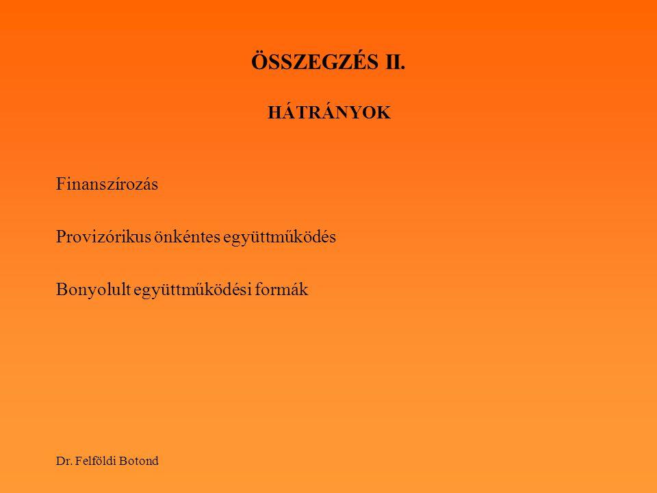 Dr. Felföldi Botond ÖSSZEGZÉS II. HÁTRÁNYOK Finanszírozás Provizórikus önkéntes együttműködés Bonyolult együttműködési formák