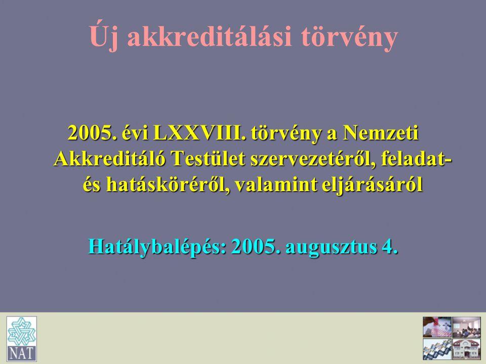 Új akkreditálási törvény 2005. évi LXXVIII. törvény a Nemzeti Akkreditáló Testület szervezetéről, feladat- és hatásköréről, valamint eljárásáról Hatál