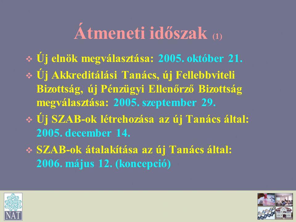 Átmeneti időszak (1)   Új elnök megválasztása: 2005. október 21.   Új Akkreditálási Tanács, új Fellebbviteli Bizottság, új Pénzügyi Ellenőrző Bizo