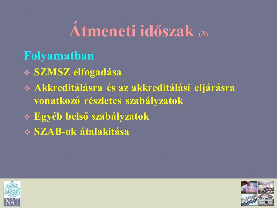 Átmeneti időszak (3) Folyamatban   SZMSZ elfogadása   Akkreditálásra és az akkreditálási eljárásra vonatkozó részletes szabályzatok   Egyéb bels