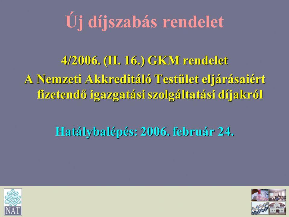 Új díjszabás rendelet 4/2006. (II. 16.) GKM rendelet A Nemzeti Akkreditáló Testület eljárásaiért fizetendő igazgatási szolgáltatási díjakról Hatálybal