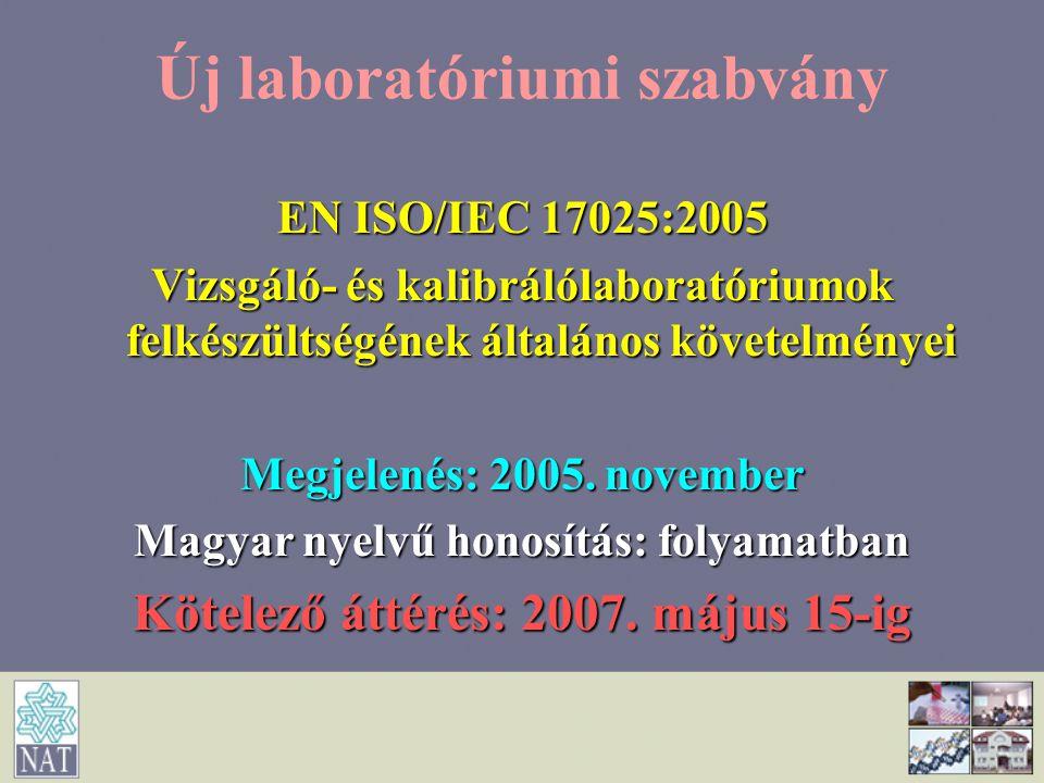 Új laboratóriumi szabvány EN ISO/IEC 17025:2005 Vizsgáló- és kalibrálólaboratóriumok felkészültségének általános követelményei Megjelenés: 2005. novem