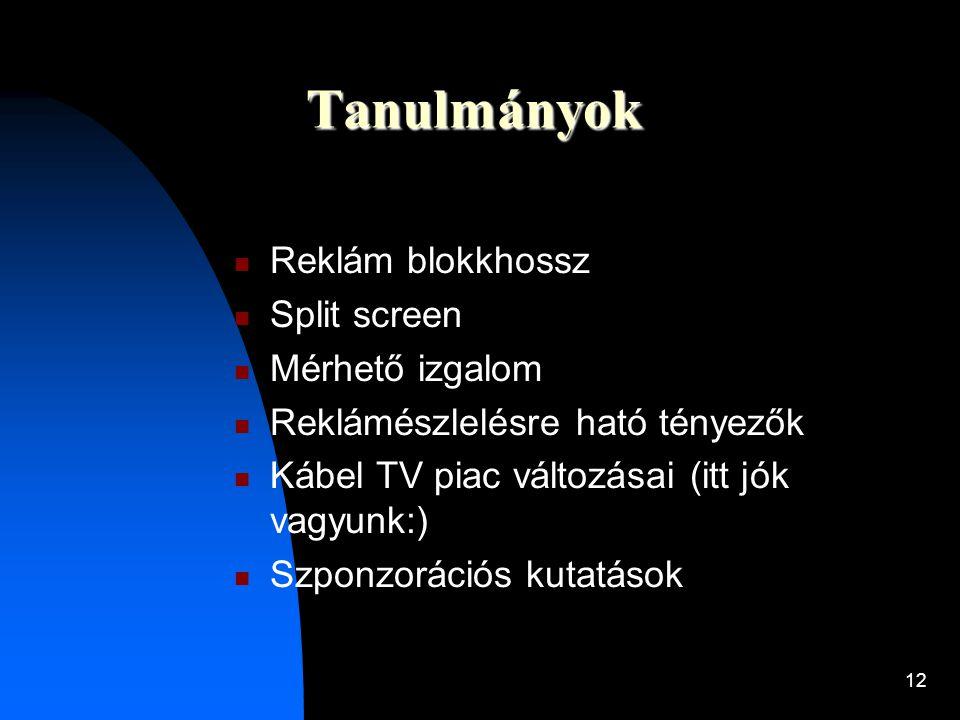 12 Tanulmányok  Reklám blokkhossz  Split screen  Mérhető izgalom  Reklámészlelésre ható tényezők  Kábel TV piac változásai (itt jók vagyunk:)  S