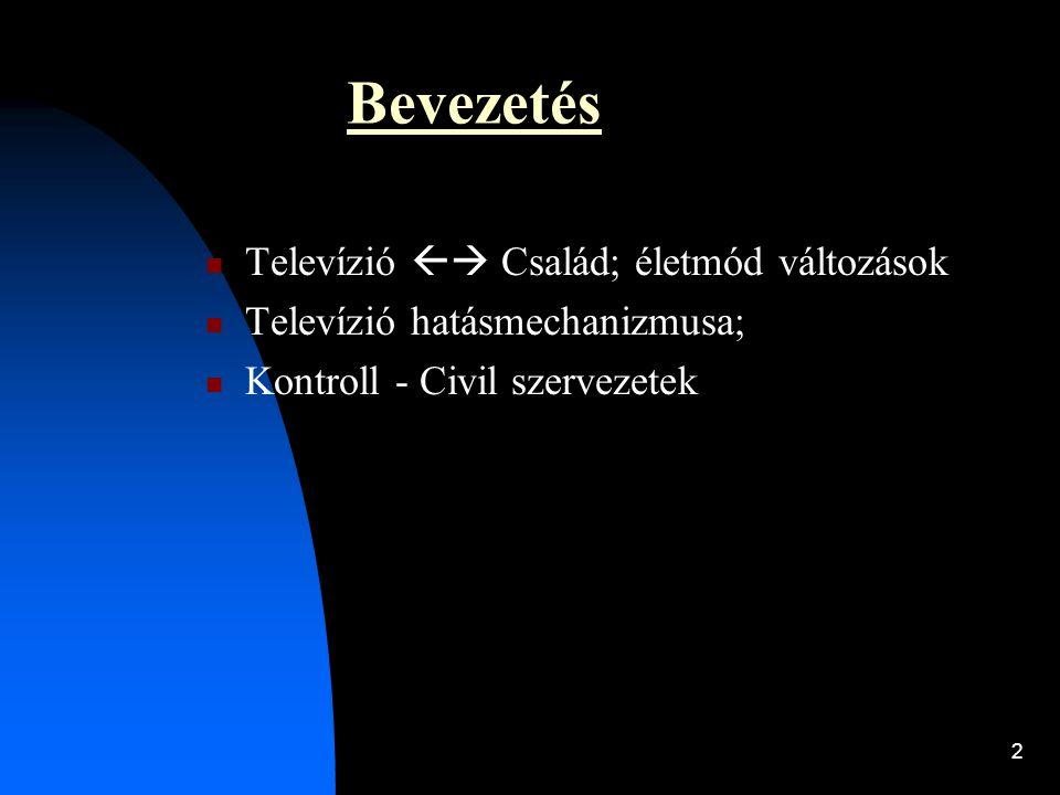 2 Bevezetés  Televízió  Család; életmód változások  Televízió hatásmechanizmusa;  Kontroll - Civil szervezetek
