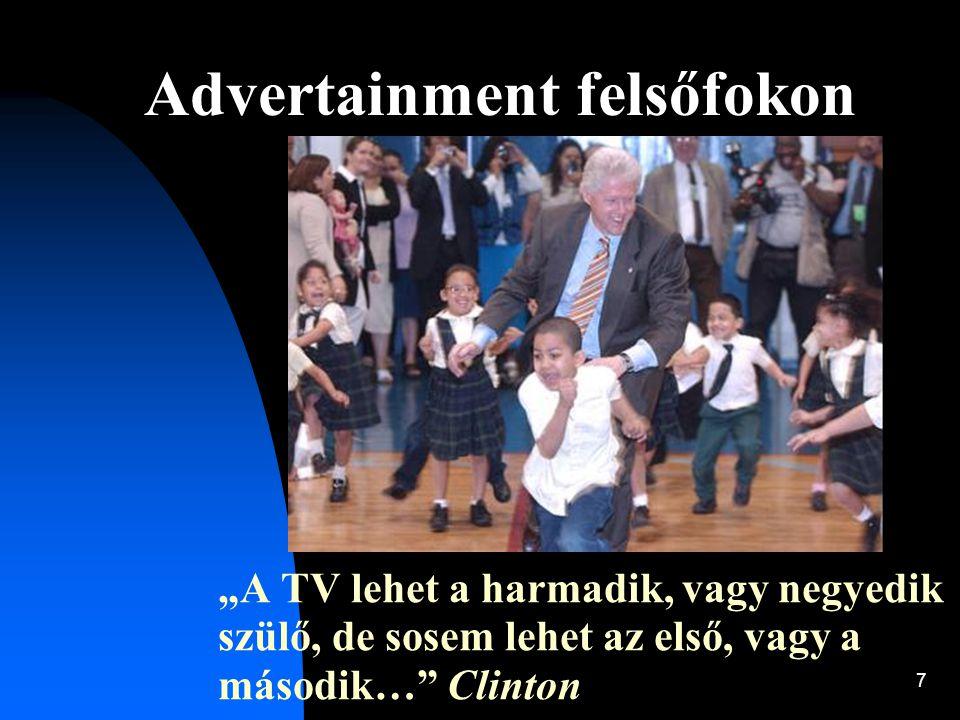"""7 Advertainment felsőfokon """"A TV lehet a harmadik, vagy negyedik szülő, de sosem lehet az első, vagy a második…"""" Clinton"""