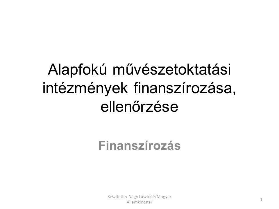 Készítette: Nagy Lászlóné/Magyar Államkincstár 1 Alapfokú művészetoktatási intézmények finanszírozása, ellenőrzése Finanszírozás