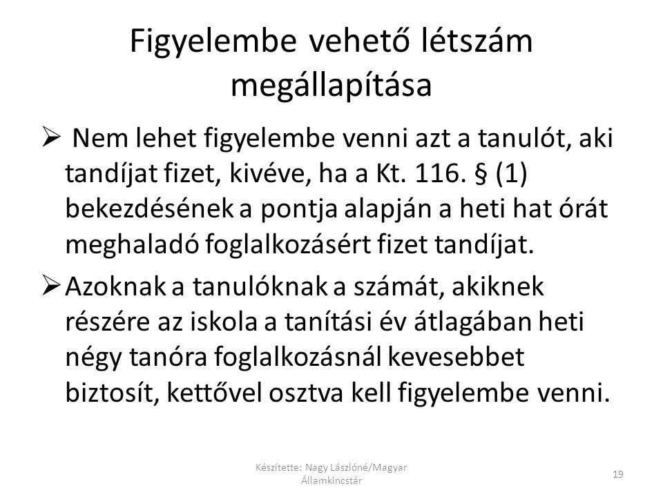 Készítette: Nagy Lászlóné/Magyar Államkincstár 19 Figyelembe vehető létszám megállapítása  Nem lehet figyelembe venni azt a tanulót, aki tandíjat fizet, kivéve, ha a Kt.