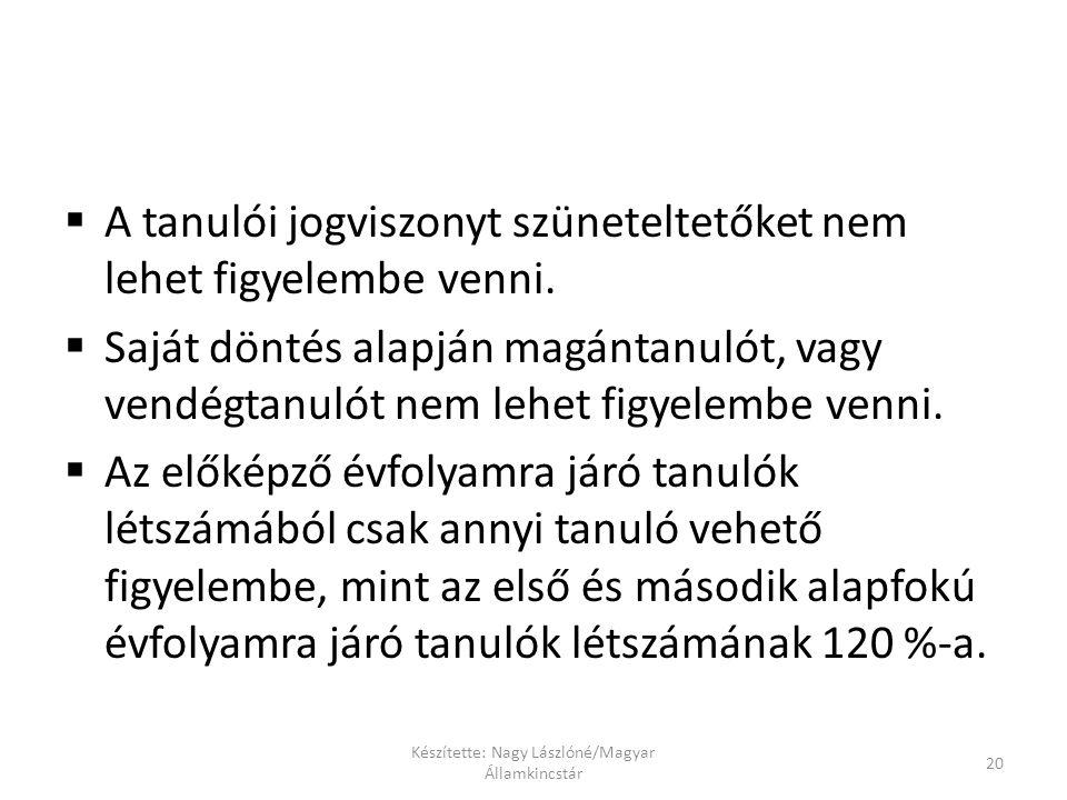 Készítette: Nagy Lászlóné/Magyar Államkincstár 20  A tanulói jogviszonyt szüneteltetőket nem lehet figyelembe venni.