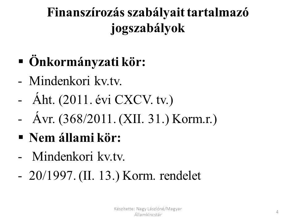 Készítette: Nagy Lászlóné/Magyar Államkincstár 4 Finanszírozás szabályait tartalmazó jogszabályok  Önkormányzati kör: - Mindenkori kv.tv.