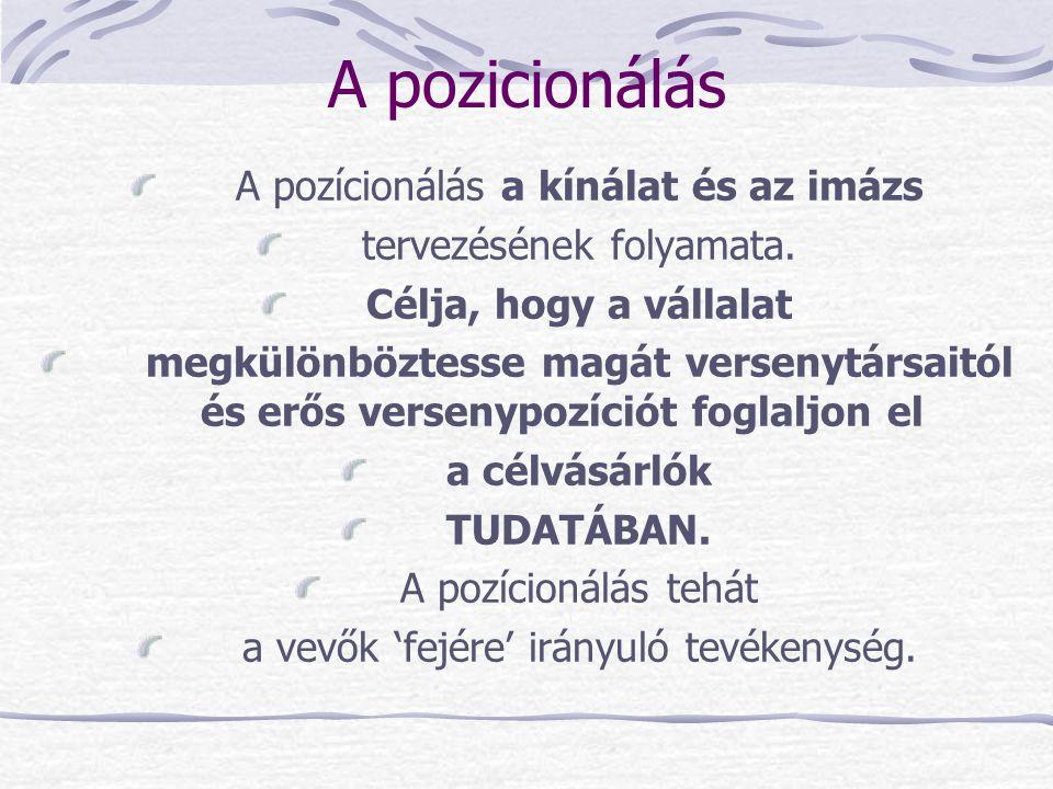 A pozicionálás A pozícionálás a kínálat és az imázs tervezésének folyamata. Célja, hogy a vállalat megkülönböztesse magát versenytársaitól és erős ver