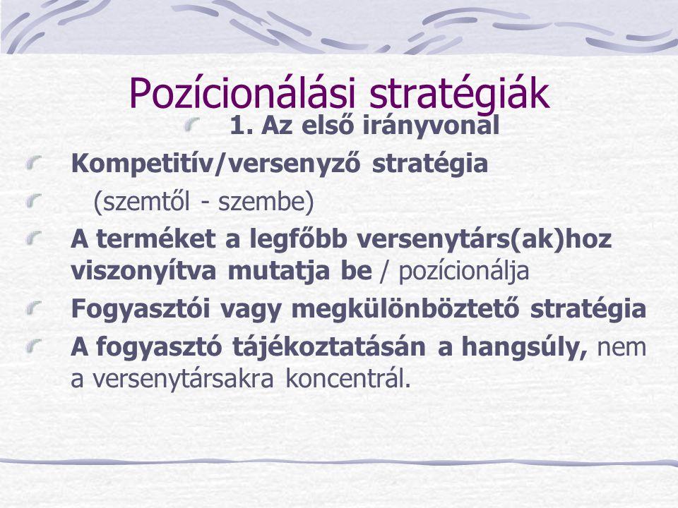 Pozícionálási stratégiák 1. Az első irányvonal Kompetitív/versenyző stratégia (szemtől - szembe) A terméket a legfőbb versenytárs(ak)hoz viszonyítva m