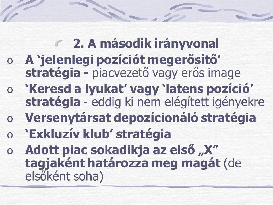 2. A második irányvonal o A 'jelenlegi pozíciót megerősítő' stratégia - piacvezető vagy erős image o 'Keresd a lyukat' vagy 'latens pozíció' stratégia