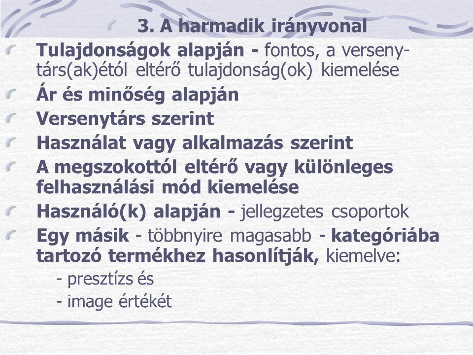 3. A harmadik irányvonal Tulajdonságok alapján - fontos, a verseny- társ(ak)étól eltérő tulajdonság(ok) kiemelése Ár és minőség alapján Versenytárs sz