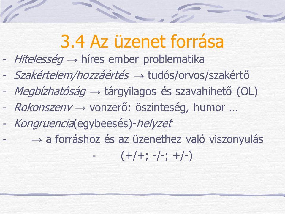 3.4 Az üzenet forrása - Hitelesség → híres ember problematika - Szakértelem/hozzáértés → tudós/orvos/szakértő - Megbízhatóság → tárgyilagos és szavahi