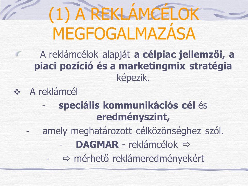 A reklámcélok három csoportja: tájékoztató / informáló - bevezető meggyőző / összehasonlító - verseny emlékeztető / megerősítő – érett szakaszban A reklámcélok négy fő összetevője: - célcsoport(ok) (kiknek szól az üzenet) - marketing és kommunikációs cél - kívánt változás (számszerűen!) - időhorizont