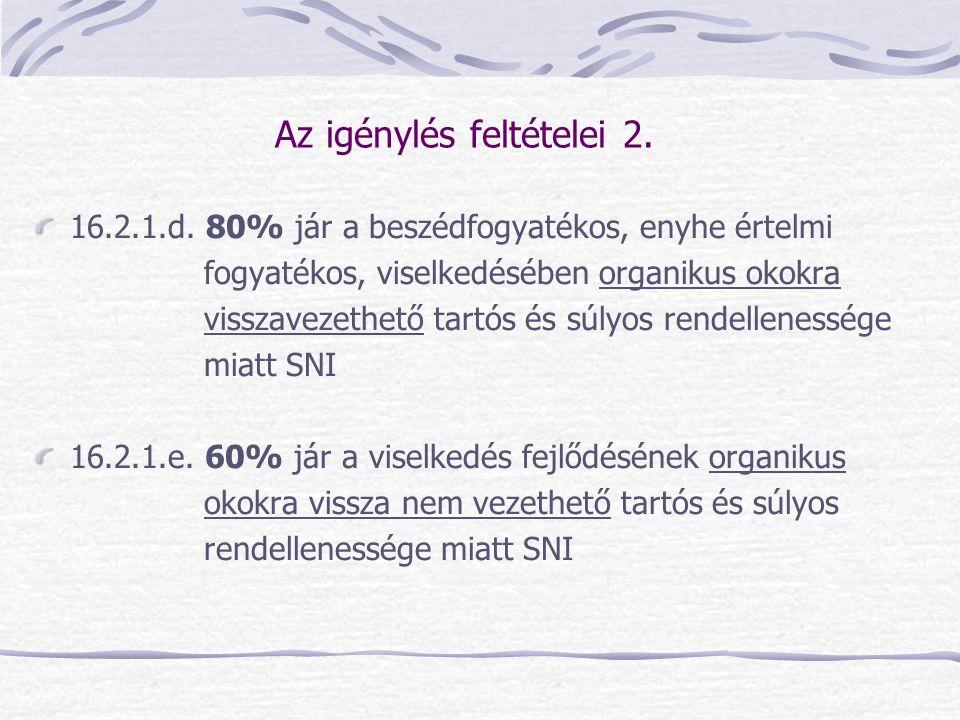 Az igénylés feltételei 2. 16.2.1.d. 80% jár a beszédfogyatékos, enyhe értelmi fogyatékos, viselkedésében organikus okokra visszavezethető tartós és sú