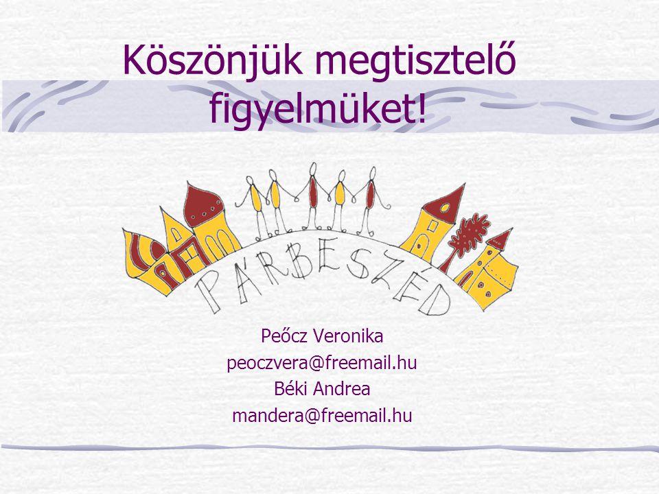 Köszönjük megtisztelő figyelmüket! Peőcz Veronika peoczvera@freemail.hu Béki Andrea mandera@freemail.hu