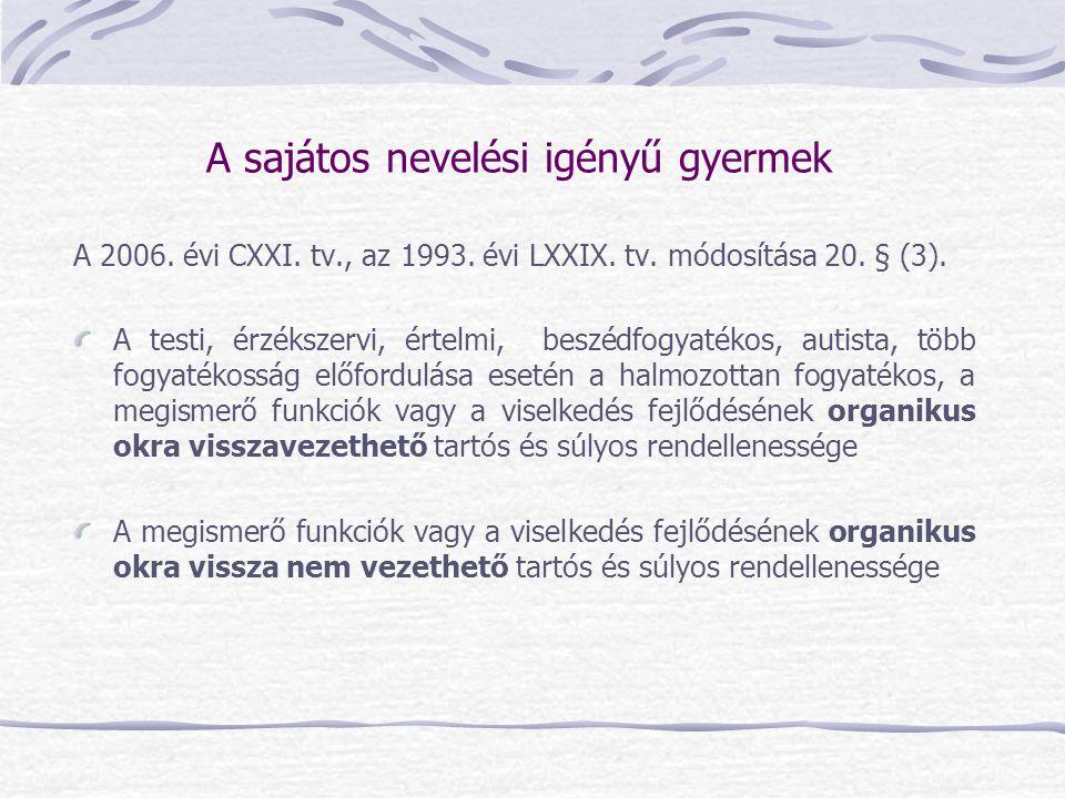 A 2006. évi CXXI. tv., az 1993. évi LXXIX. tv. módosítása 20. § (3). A testi, érzékszervi, értelmi, beszédfogyatékos, autista, több fogyatékosság előf