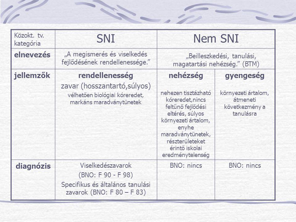 """Közokt. tv. kategória SNINem SNI elnevezés """"A megismerés és viselkedés fejlődésének rendellenessége."""" """"Beilleszkedési, tanulási, magatartási nehézség."""