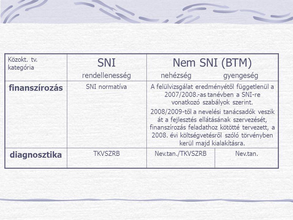 Közokt. tv. kategória SNI rendellenesség Nem SNI (BTM) nehézség gyengeség finanszírozás SNI normatívaA felülvizsgálat eredményétől függetlenül a 2007/
