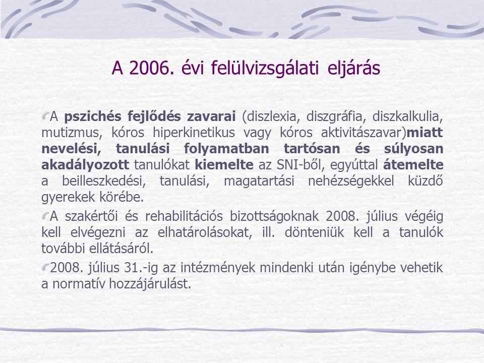 A 2006. évi felülvizsgálati eljárás A pszichés fejlődés zavarai (diszlexia, diszgráfia, diszkalkulia, mutizmus, kóros hiperkinetikus vagy kóros aktivi