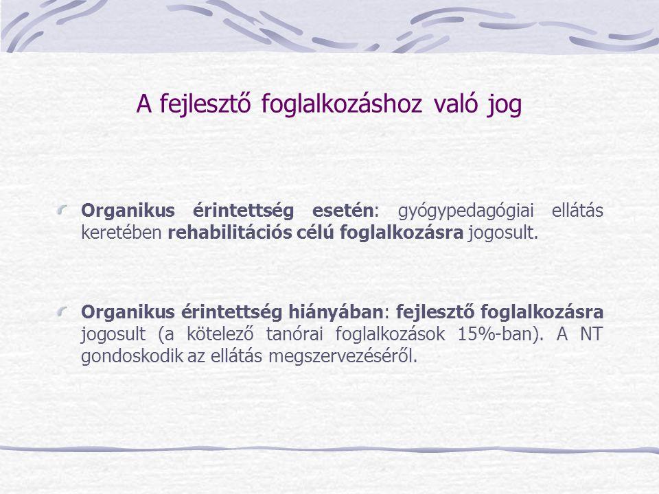 A fejlesztő foglalkozáshoz való jog Organikus érintettség esetén: gyógypedagógiai ellátás keretében rehabilitációs célú foglalkozásra jogosult. Organi