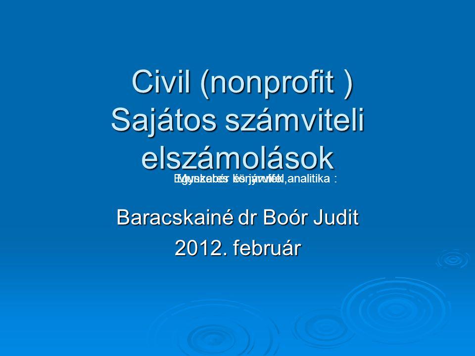 Civil (nonprofit ) Sajátos számviteli elszámolások Civil (nonprofit ) Sajátos számviteli elszámolások Baracskainé dr Boór Judit 2012. február Munkabér