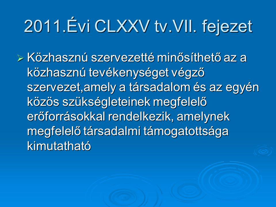 2011.Évi CLXXV tv.VII. fejezet  Közhasznú szervezetté minősíthető az a közhasznú tevékenységet végző szervezet,amely a társadalom és az egyén közös s