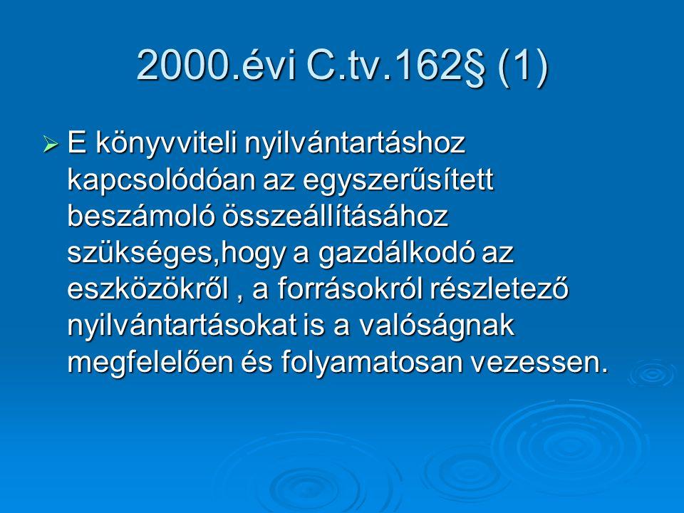 2000.évi C.tv.162§ (1)  E könyvviteli nyilvántartáshoz kapcsolódóan az egyszerűsített beszámoló összeállításához szükséges,hogy a gazdálkodó az eszkö