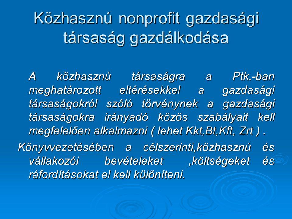 Közhasznú nonprofit gazdasági társaság gazdálkodása A közhasznú társaságra a Ptk.-ban meghatározott eltérésekkel a gazdasági társaságokról szóló törvé