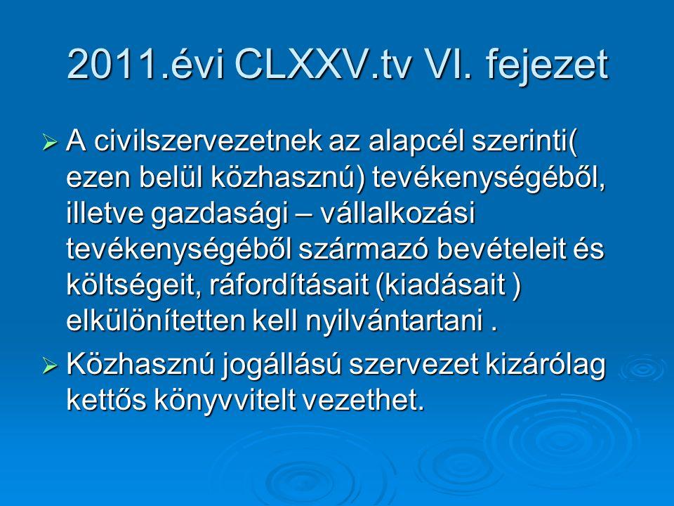 2011.évi CLXXV.tv VI. fejezet  A civilszervezetnek az alapcél szerinti( ezen belül közhasznú) tevékenységéből, illetve gazdasági – vállalkozási tevék