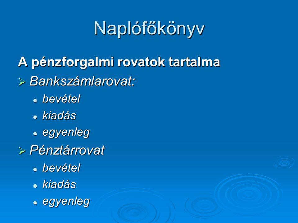 Naplófőkönyv A pénzforgalmi rovatok tartalma  Bankszámlarovat:  bevétel  kiadás  egyenleg  Pénztárrovat  bevétel  kiadás  egyenleg