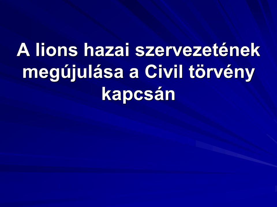 A lions hazai szervezetének megújulása a Civil törvény kapcsán