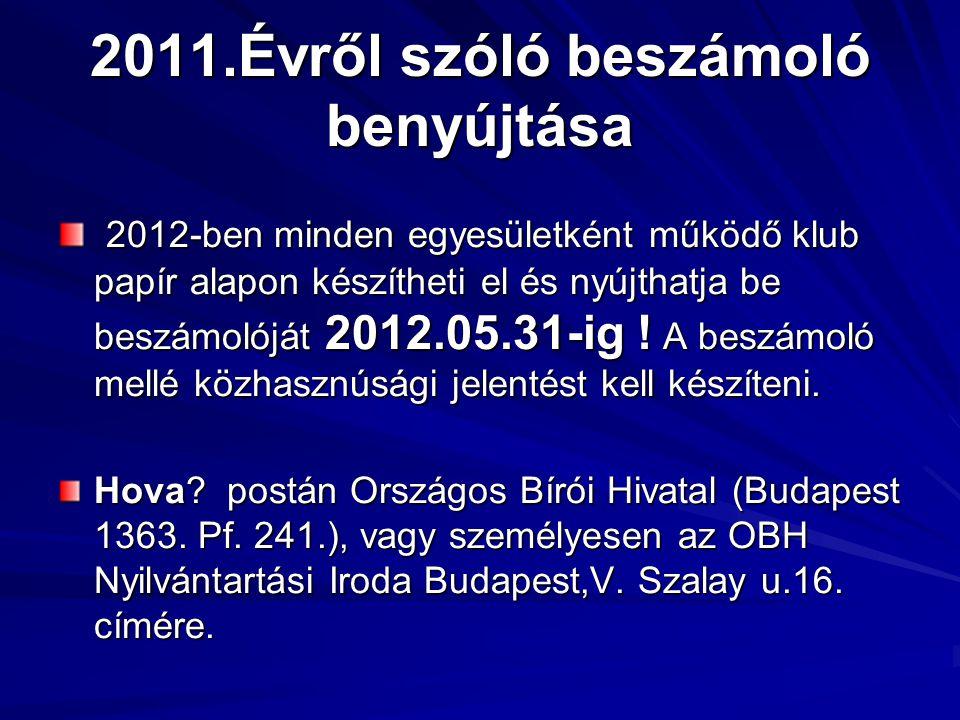 2011.Évről szóló beszámoló benyújtása 2012-ben minden egyesületként működő klub papír alapon készítheti el és nyújthatja be beszámolóját 2012.05.31-ig .