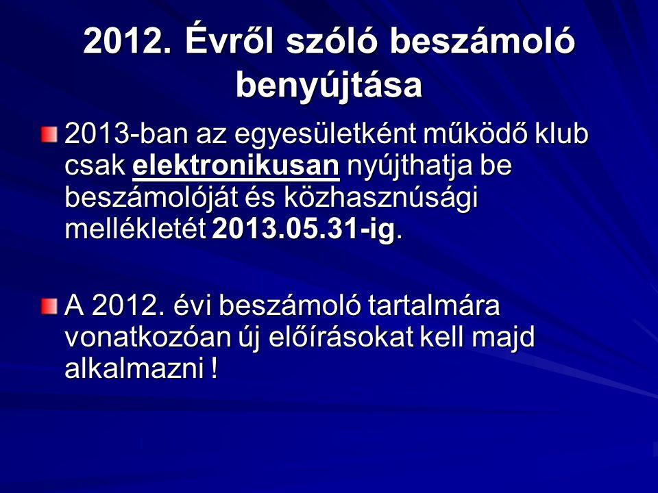 2012. Évről szóló beszámoló benyújtása 2013-ban az egyesületként működő klub csak elektronikusan nyújthatja be beszámolóját és közhasznúsági melléklet