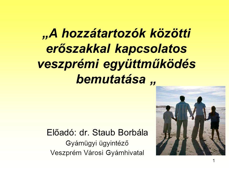 """1 """"A hozzátartozók közötti erőszakkal kapcsolatos veszprémi együttműködés bemutatása """" Előadó: dr."""