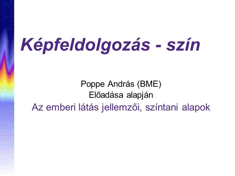 Képfeldolgozás - szín Poppe András (BME) Előadása alapján Az emberi látás jellemzői, színtani alapok