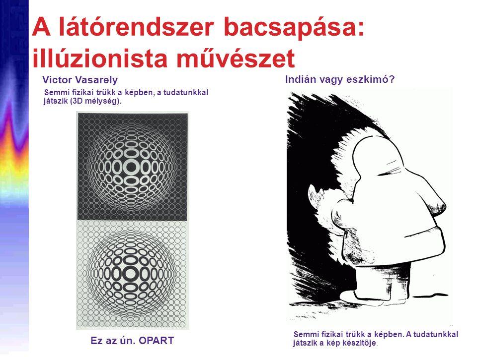 A látórendszer bacsapása: illúzionista művészet Semmi fizikai trükk a képben. A tudatunkkal játszik a kép készítője. Victor Vasarely Semmi fizikai trü