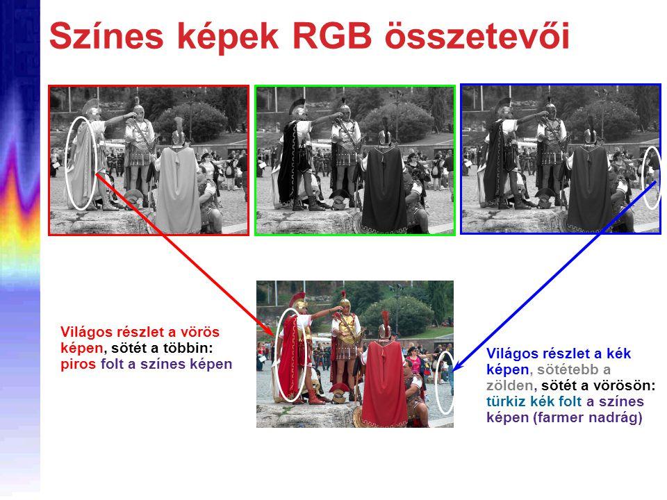 Színes képek RGB összetevői Világos részlet a vörös képen, sötét a többin: piros folt a színes képen Világos részlet a kék képen, sötétebb a zölden, s