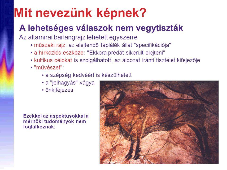A lehetséges válaszok nem vegytiszták Az altamirai barlangrajz lehetett egyszerre • • műszaki rajz: az elejtendő táplálék állat