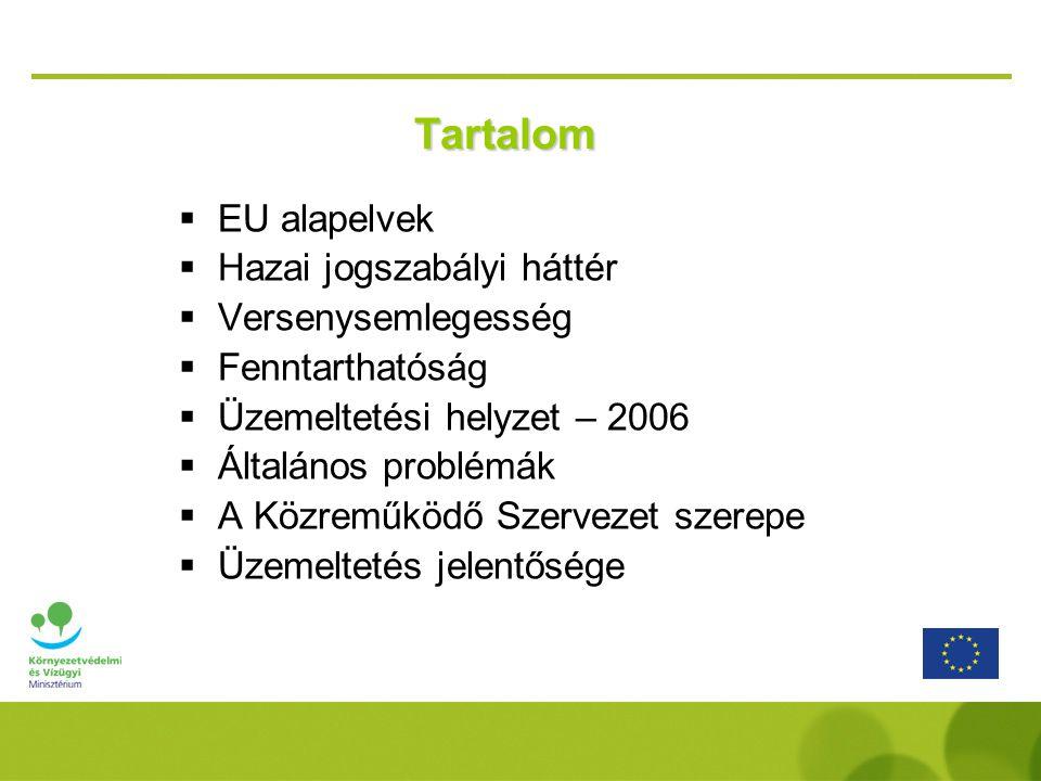 Tartalom  EU alapelvek  Hazai jogszabályi háttér  Versenysemlegesség  Fenntarthatóság  Üzemeltetési helyzet – 2006  Általános problémák  A Közr